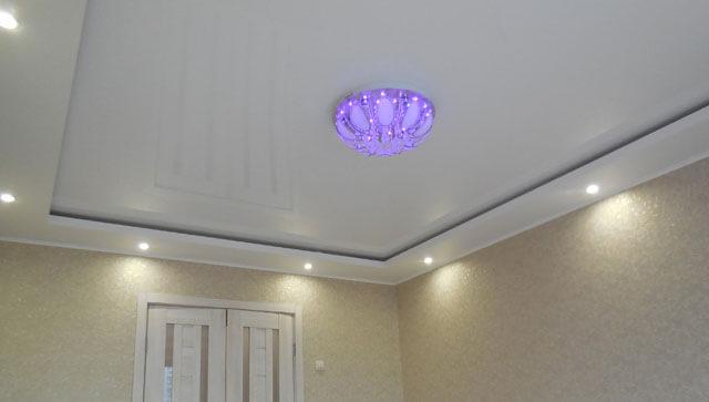 комбинированный потолок гипсокартон и натяжной своими руками