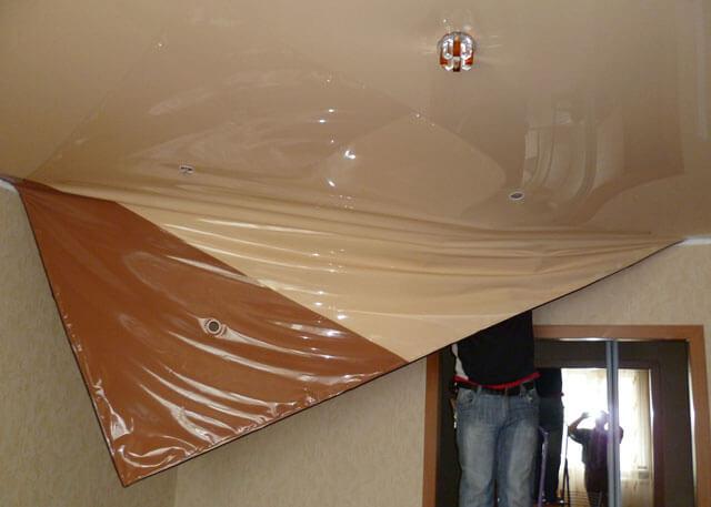как снять натяжной потолок и поставить