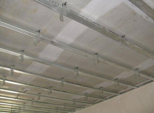 каркас потолка из профиля под гипсокартон