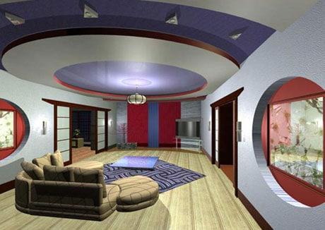 Цветной многоуровневый потолок
