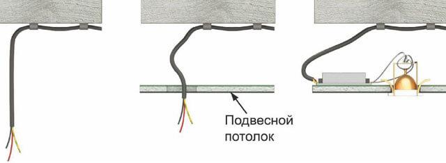 установить светильники в подвесной потолок