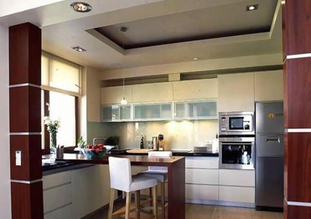 дизайн потолка на кухне из гипсокартона