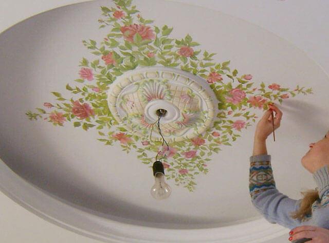 как нарисовать люстру на потолке