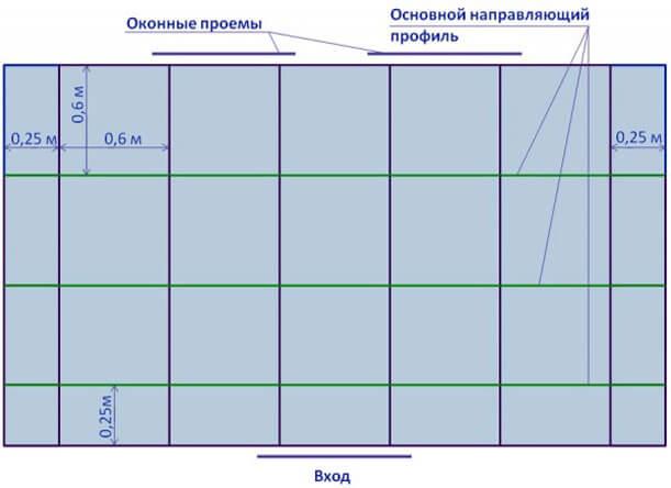 схема навесных потолков