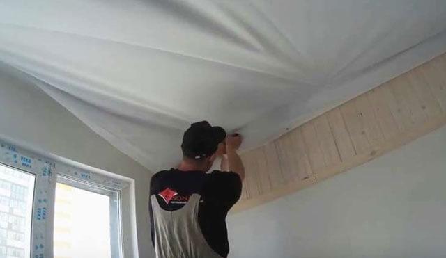как сделать тканевый потолок своими руками