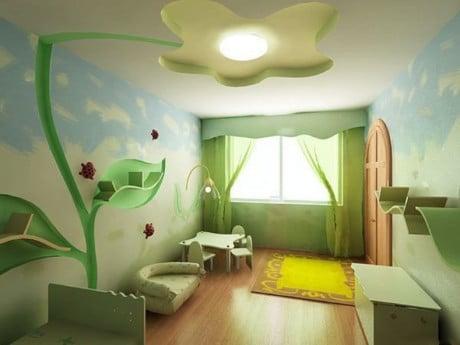оформление потолка для девчачьей комнаты