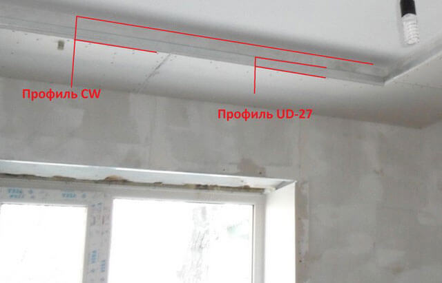 короб из гипрока на потолке