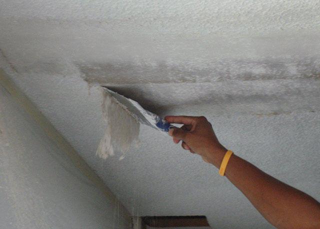 как быстро смыть потолок от побелки
