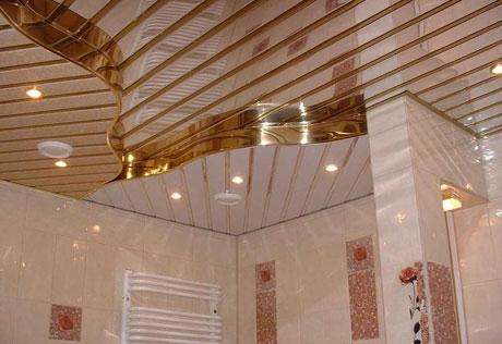 Многоуровневая конструкция реечного потолка