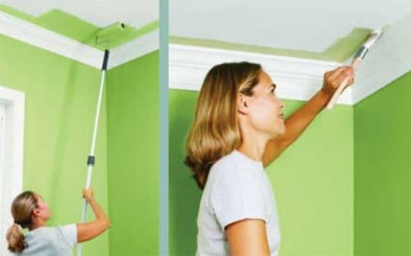 Окрашивание стены и потолка латексной смесью