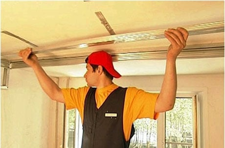 Монтаж каркаса для панельного потолка