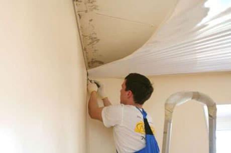 Крепление пленки натяжного потолка