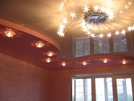 Комбинированный натяжной и потолок из гипсокартона