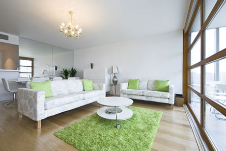 Потолок из гипсокартона в скандинавском дизайне гостиной