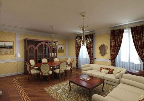 Одноуровневый белый потолок в гостиной