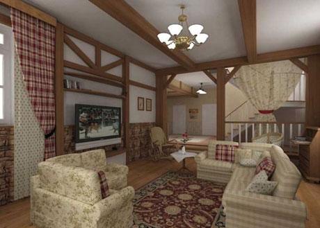 Подвесной потолок в гостиной стиля кантри