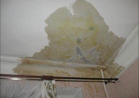 Затопление потолка из гипсокартона