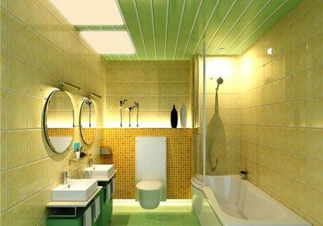 Обшивка потолка ванной пластиковыми панелями