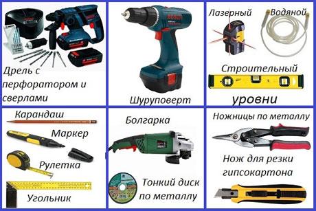 Инструменты для монтажа потолка из гкл