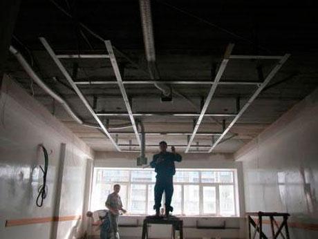 Сборка каркаса подвесного потолка