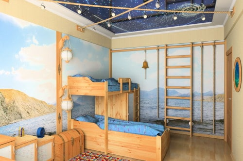 Потолок в комнате мальчика