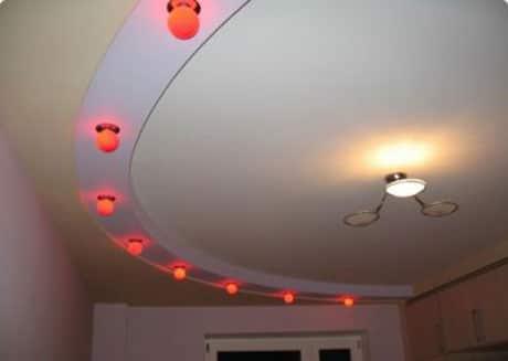 Фиоурный потолок из гипсокартона