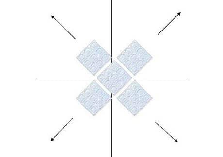 Вариант поклейки плитки по диагонали