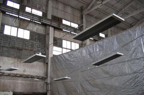 Обореватели в производственном помещении