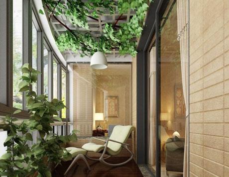 Озеленение потолка на балконе