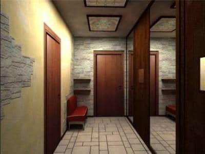 Зеркальные поверхности в коридоре