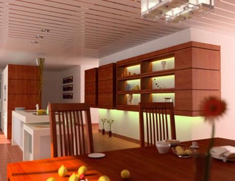 Реечный потолок в кухне