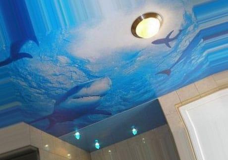 Натяжной художественный потолок в ванной