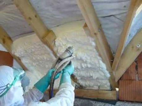 Утепление потолка полиуретаном