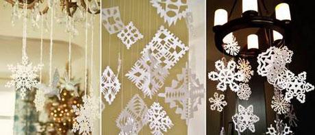 Бумажные снежинки на нитях для украшения дома