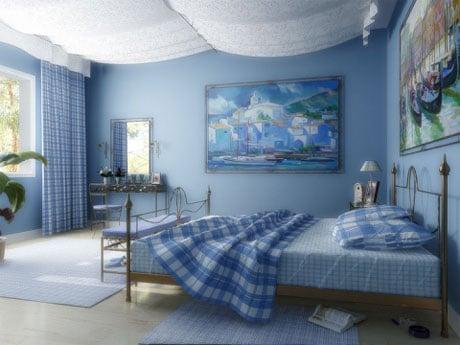 Драпировка потолка спальни в морском стиле