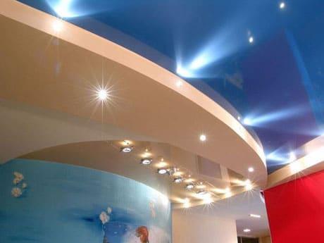Комбинация натяжного и гипсокартонового потолка