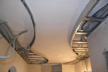 Фигурный каркас для потолка из 2 ярусов