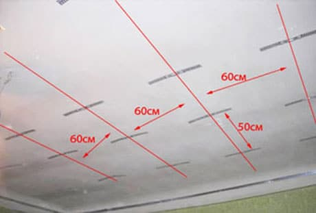 Пример разметки потолка для навесной конструкции