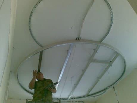 Уровни гипсокаронового потолка круглой формы