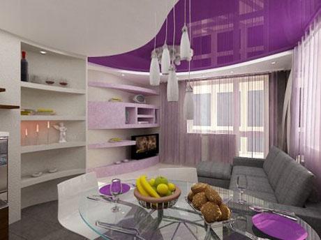Двухцветный потолок в кухне