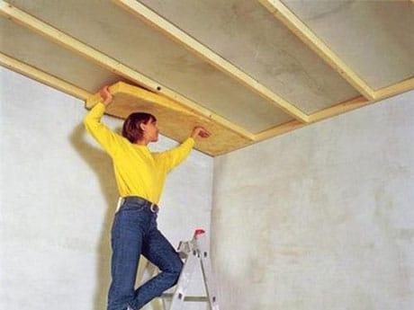 Изоляция потолка минватой