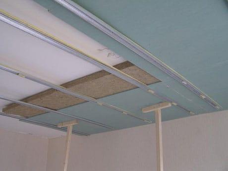 Изоляция потолка минватой и гипсокартоном